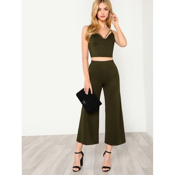 Army Green Strappy Neck Cami Top And Pants Coord