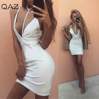 2017 Lady Casual Sexy V-neck Halter Bandage Strapless Backless Splice Womens High Waist Bodycon White Dresses 921