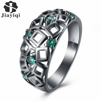 2017 Antique Claw Rings Green Stone Cubic Zirconia Jewelry Women/Men Engagement Band Black Gold Filled Wedding with free box