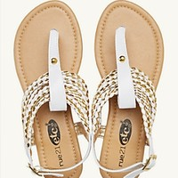 Metallic Braid T-Strap Sandals