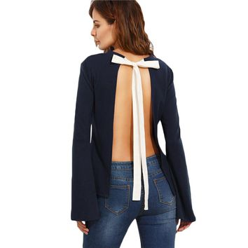 Navy Tie Open Back Long Sleeve Shirt Color Block Clothes Female Patchwork Round Neck Backless Blouse