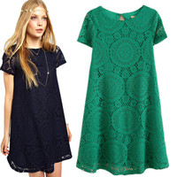 Fashion Hollow Lace Dress   Lace Flower Short Sleeve O-Neck Dress Ladies