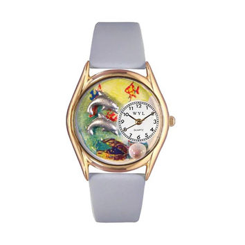 Whimsical Watches Healthcare Nurse Gift Accessories Dolphin Navy Blue Leather And Goldtone Watch