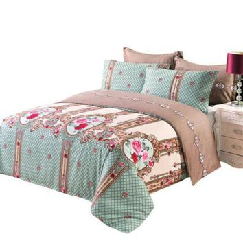3/4pcs bedding set microfiber fabric retro duvet cover set king/queen/twin/single/double/Europe/family size bed set