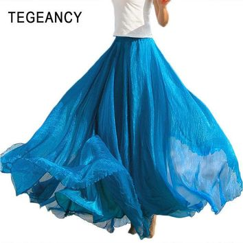 LMFET7 TEGEANCY Fashion Women Chiffon Maxi Skirt Elastic High Waist Long Saia XL Ladies Spring Summer 21 Color Soft Expansion Skirt