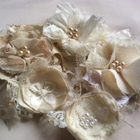 Satin, Linen, and Lace Fabric Flower Embellishments - Cream, White, and Cocoa Colored Linen, Lace, Satin