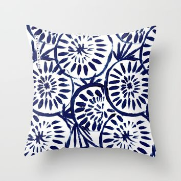 Painted Medallions Navy Throw Pillow by CRYSTAL WALEN