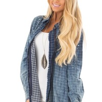 Denim Plaid Ombre Button Up Top with Fringe Detail
