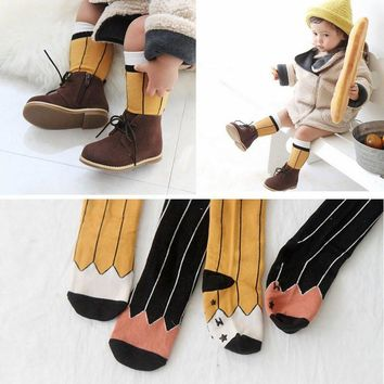 New Baby Socks Toddler Kid Girl Boy Child Tube Socks Soft Pencil Pattern Cotton Knee Socks S01