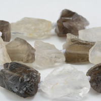 rough gemstones wholesale - rough uncut gemstones -  smoky quartz and rock crystal mixed strand -- natural uncut rough nugget beads -15 inch
