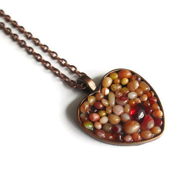 Copper Heart Pendant necklace with red and orange glass pebbles, hand made modern mosaic jewelry with copper finish