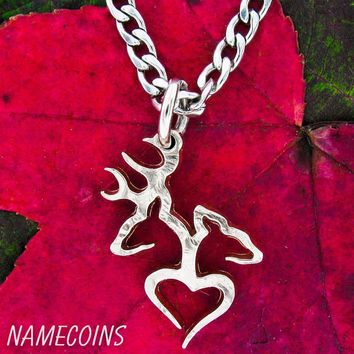 Buck and Doe Heart Necklace Quarter no rim hand cut coin by NameCoins
