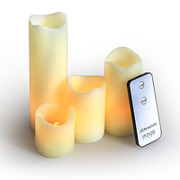 InnooLight Flameless Candles Remote Led Christmas Lights Flickering Pillar Candle Lamp Battery Operated Lights for Wedding,Bedroom Decoration,Warm White 8 Extra Batteries Included Set of 4