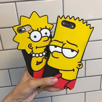 New Funny 3D Cute Cartoon Dull Polish Simpson couple Phone cover Case for Iphone 6 6s Plus soft Simpson case for iphone 7 7 plus