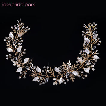 rosebridalpark wedding accessories hair bridal jewelry gold head band crystal headdress leaf headpiece leaves headband pearl 484
