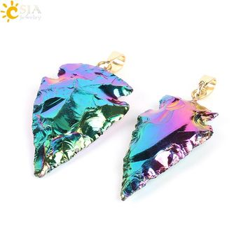 CSJA Natural Gem Stone Colorful Raw Tourmaline Arrowhead Men Necklaces Pendants Electroplated Gold-color Hook Reiki Jewelry E703