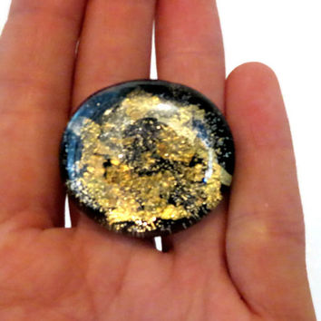 Statement Ring, Jewellry,  Galaxy Art, Black and Gold,  Adjustable Ring, Women's Jewelry, Handmade Jewelry Christmas Gift,
