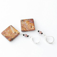 Handmade autumn colored square dangle earrings. Golden, lilac, beige, brown, multicolored marble earrings.