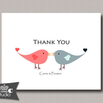 Love Birds Thank You Card, Personalized Printable Folded Notecard - Wedding, Bridal Shower, Baby Shower - You Print