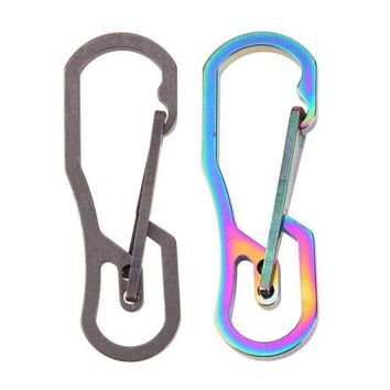 DCCK7N3 Multifunction Tool Titanium High Loading-bearing Hook EDC Tool Keychain 25KN Carabiner Camping Hiking Outdoor Tool 2 Colors