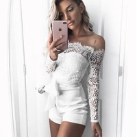 LMFUF3 Fashion Sexy Lace Splicing Show Thin Long Sleeve Romper