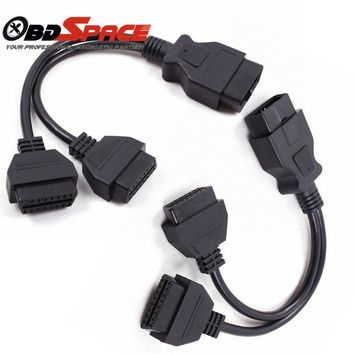 Top Quality OBD2 OBDII 16Pin 1 male to 2 Female Extension Cable OBD2 Y Splitter Wholesale Price