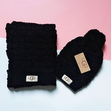 """UGG"" Hot Sale Trending Stylish Cute Knit Hat Cap Scarf Set Two-Piece Black"