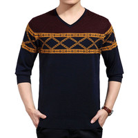 Geo Pattern V Neck Ribbed Trim Knit Sweater