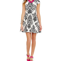 B. Darlin Scroll Print Scuba Dress | Dillards