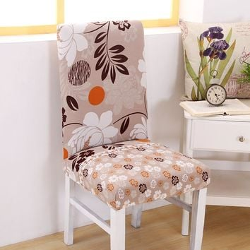Minimalist Geometric Floral Printing Stretch Dining Chair Protective Slipcover Kitchen Decorative Elastic Chair Cover for Banqut