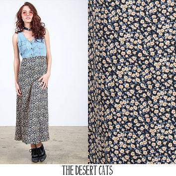 vintage 90s dress vintage 1990s denim and floral sun dress vintage 90s grunge dress