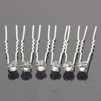 (SET OF 12 PCS) Clear Crystal Rhinestone Hair Pins