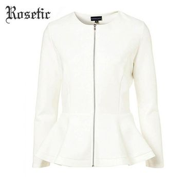 Trendy Rosetic Gothic Style White Color Patchwork Ruffles Long Sleeve 2017 Autumn Women Office Slim Sexy Elegant Outerwear Jackets AT_94_13