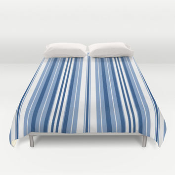 Pacific Stripe: Navy Ivory Duvet Cover by Eileen Paulino