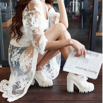 2015 chiffon sun protection clothing solid color long design lace cardigan one-piece dress = 1958070596