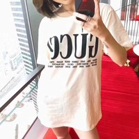 """Gucci"" Women Simple Casual Letter Print Short Sleeve T-shirt Top Tee"