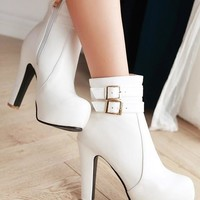 New Women White Round Toe Chunky Zipper Double Buckle Fashion Ankle Boots