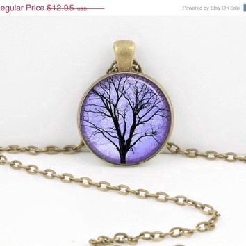 ON SALE Winter Tree Violet Blue Sky Valentine's Gift Glass Pendant Necklace or Key Ring