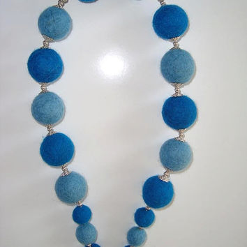 Felt necklace,handmade eco friendly