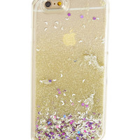 Silver & Pink Floating Stars Glitter Liquid Case for iPhone