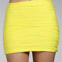 Yellow Body Con Wavy Mini Skirt