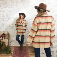Vintage PEACH Plaid Wool Coat || Oversized Fit || Coral Charcoal And Cream Peacoat ||  Size Small Medium
