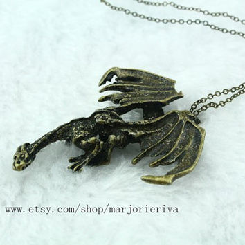 A Dance with Dragons steampunk antique bronze Fiery 3D big dargon jewelry