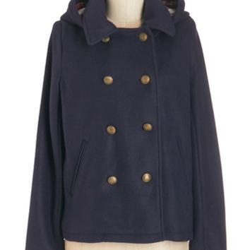 ModCloth Military Mid-length Long Sleeve Hoodie Productive Mornings Coat