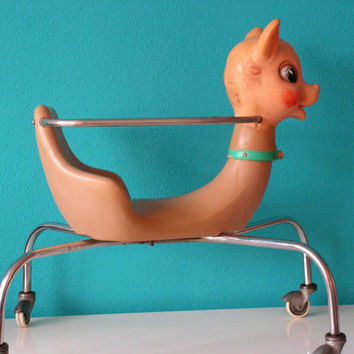 Vintage Deer Fawn Bambi Baby Walker - Rocking Horse Toy, Design by Canova Italy, 1960s