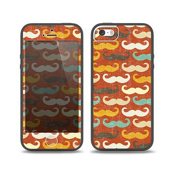 The Vintage Dark Red Mustache Pattern Skin Set for the iPhone 5-5s Skech Glow Case