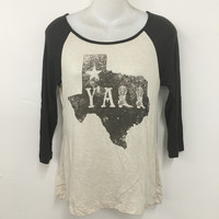 Texas Y'All - Women's 3/4 Contrast Sleeve, Graphic Print Baseball Tee