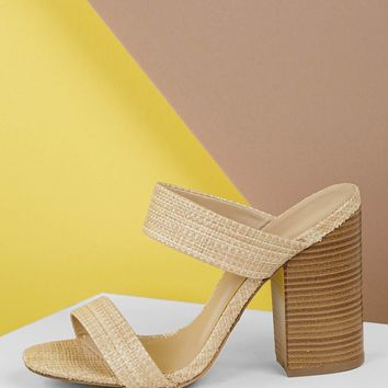 Raffia Woven Double Band Stacked Heel Sandals