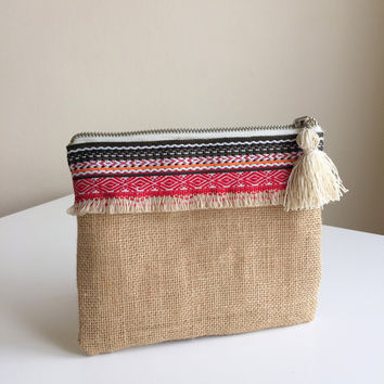 Boho Zippered Pouch,Fringe Make up bag,Burlap Cosmetic Bag,Ethnic Clutch,Boho Clutch bag,Fringe zipper pouch,bohemian pouch,coin purse