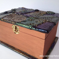 steampunk box, handmade trinket box made with polymer clay